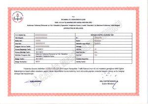 personel yükseltici ehliyeti sepetli araç kullanma belgesi
