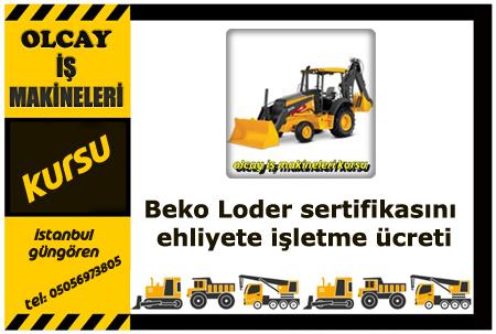 Beko Loder sertifikasını ehliyete işletme ücreti